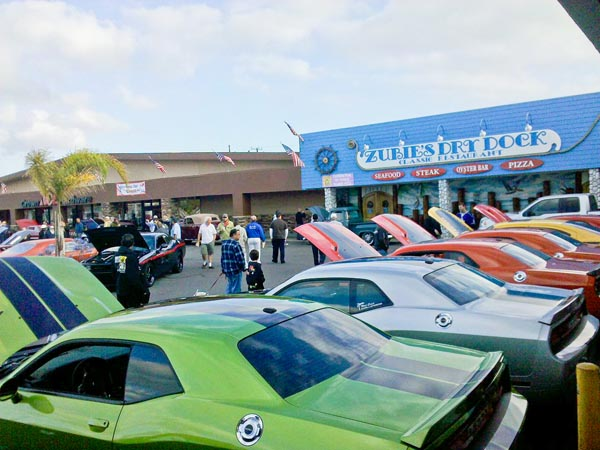 West Coast Challengers car club at Donut Derelicts weekly meet and greet event in Huntington Beach, CA